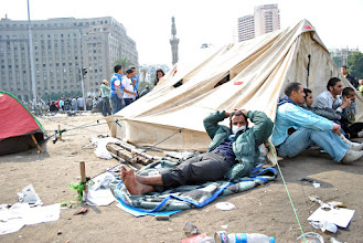 Photo: The waiting game in Tahrir Square...