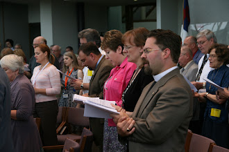 Photo: Many International Center staff, former staff, missionary alumni, current missionaries and other guests worshiped together.