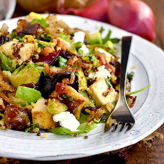 Chicken, Bacon, Date and Brussels Sprouts Quinoa Power Salad