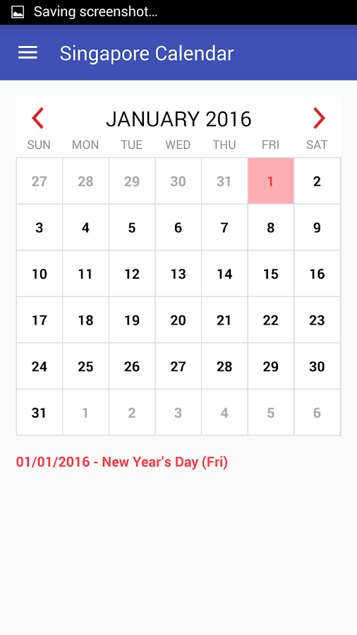 Singapore Calendar 2016