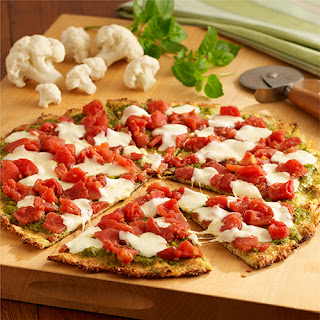 Cauliflower Crust Pizza with Pesto and Tomatoes