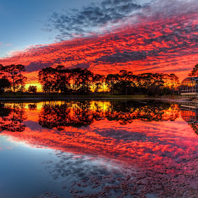 Red Sunset by George Bloise - Landscapes Sunsets & Sunrises ( clouds, reflection, sky, sunset, lake )