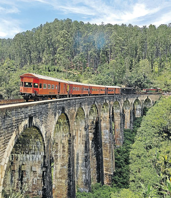 The train from Colombo to Kandy crosses a magnificent viaduct on its journey to the hills.