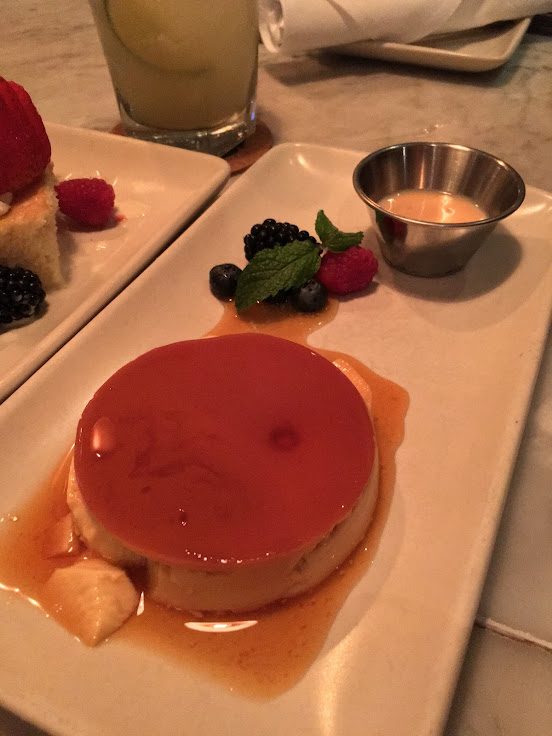 The best flan in the universe, accompanied by a little cup of rompope.