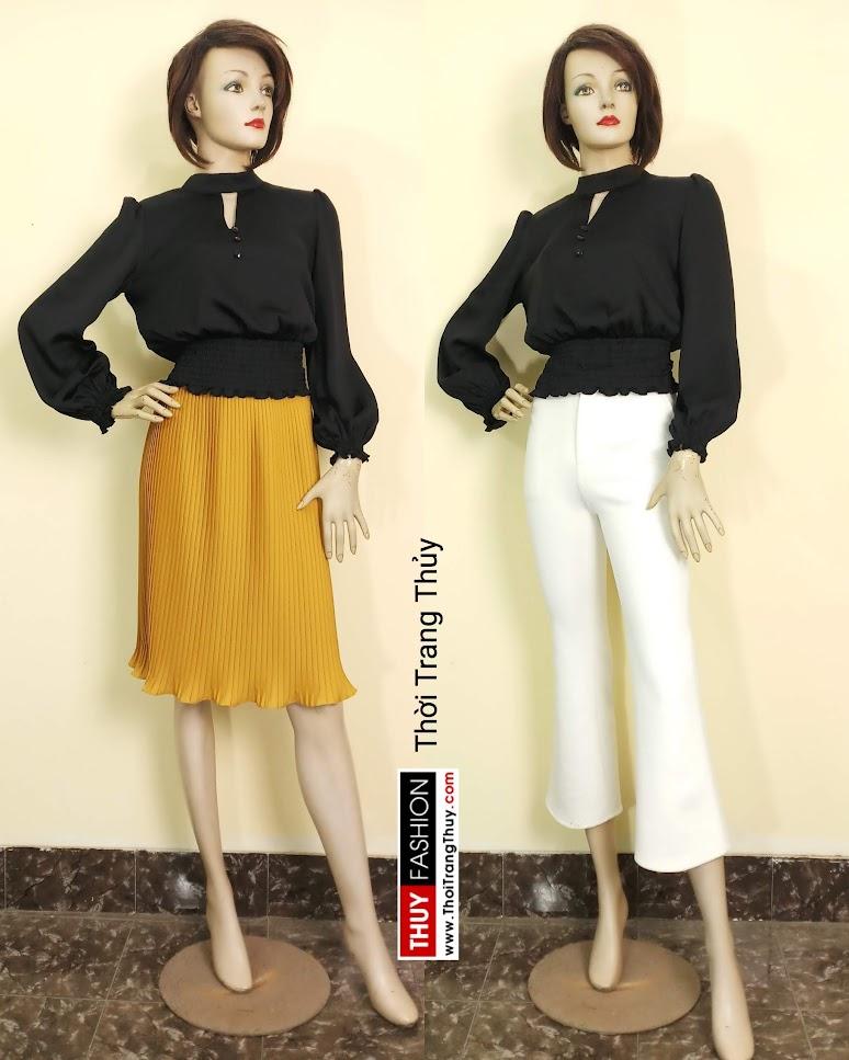 Áo nữ tay bồng nhún chun eo vải lụa đen V672 thời trang thủy hải phòng