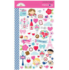 Doodlebug Mini Cardstock Stickers 2/Pkg - French Kiss