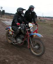 Photo: Das WASP Gespann mit dem XS Yamaha Motor beim Einfahren in die Strecke.