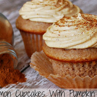 Cinnamon Cupcakes With Pumpkin Pie Frosting.