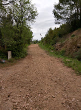 Photo: landweg vanaf beneden gezien