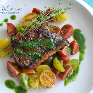 Pan Seared Black Cod with Anchovy-Herb Vinaigrette.