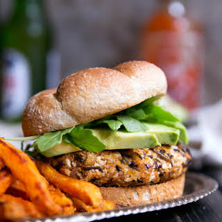Vegan Curry-Spiced Sweet Potato & Wild Rice Burgers.