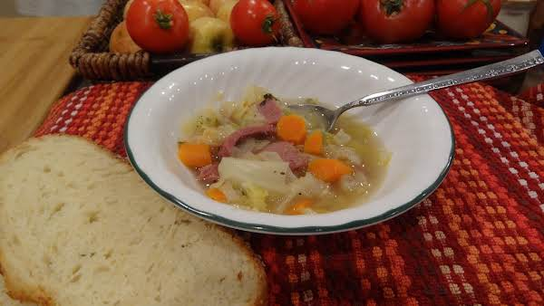 Corned Beef And Cabbage Soup Paired With Crunchy Rustic Artisan Bread! Yummy!