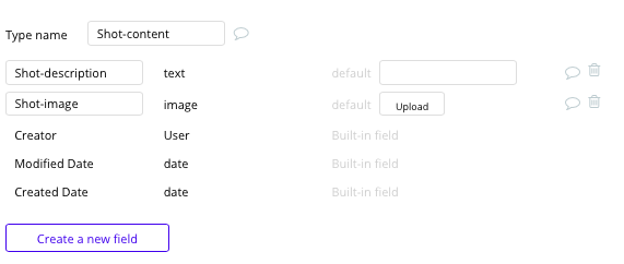 Dribbble's shot content data fields in Bubble's no-code database