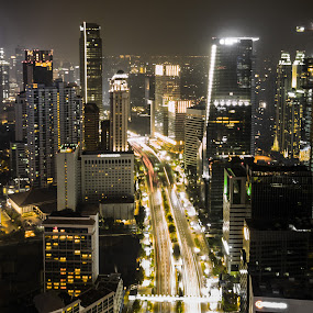 Part of Jakarta by Irfan Firdaus - City,  Street & Park  Night ( travel photography, cityscape, indonesia, building, low light )