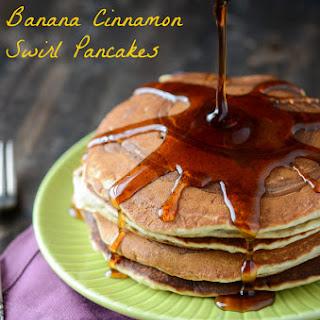 Banana Cinnamon Swirl Pancakes