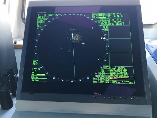 wind-surf-furuno-radar.jpg - The Furuno MU231, a multi-purpose marine LCD radar unit on the bridge of Wind Surf.