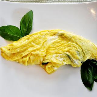 Basil Goat Cheese Omelette.