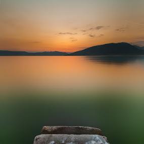 Calmness by Nikos Koutoulas - Landscapes Waterscapes ( clouds, calm, μαυροχώρι, mavrochor, calmness, minimal, lake, landscape, ηλιοβασίλεμα, σύννεφα, nd, sunset, 400, kastoria, iwaterscape, καστοριά, hoya, filter, λίμνη )