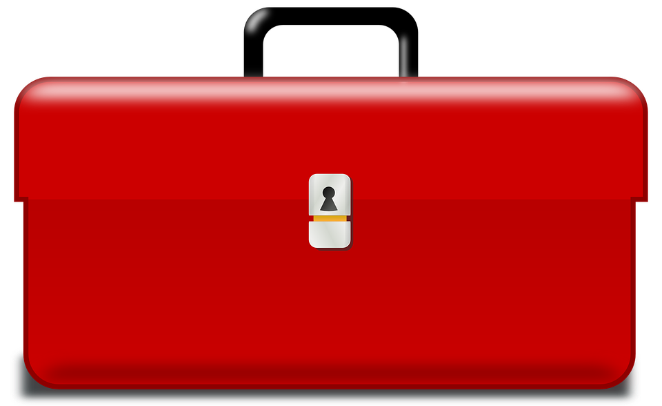 Toolbox, Tool Box, Box, Metallic, Red
