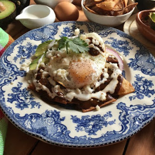 Mole Chilaquiles for Breakfast.