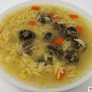 Spinach Meatball Soup with Orzo.
