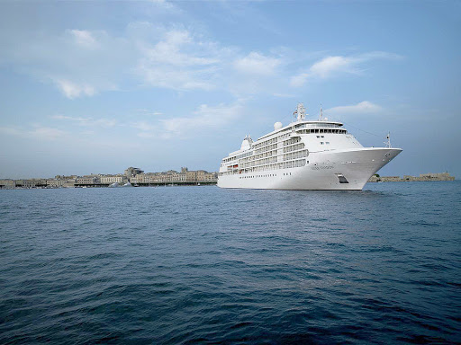 Silversea-Silver-Shadow-at-sea.jpg - Guests on Silver Shadow enjoy amenities usually found only on larger ships, such as having access to a wellness spa and beauty salon fitness center and sauna, boutique shopping, an Internet cafe and lavish productions in a theater lounge.