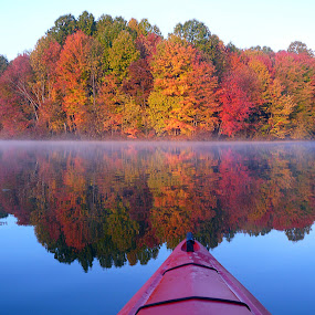 Walborn sunrise by James Rudick - Landscapes Waterscapes ( reflection, waterscape, fall, kayak,  )