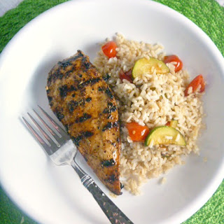 Grilled Balsamic Chicken with Mediterranean Rice.