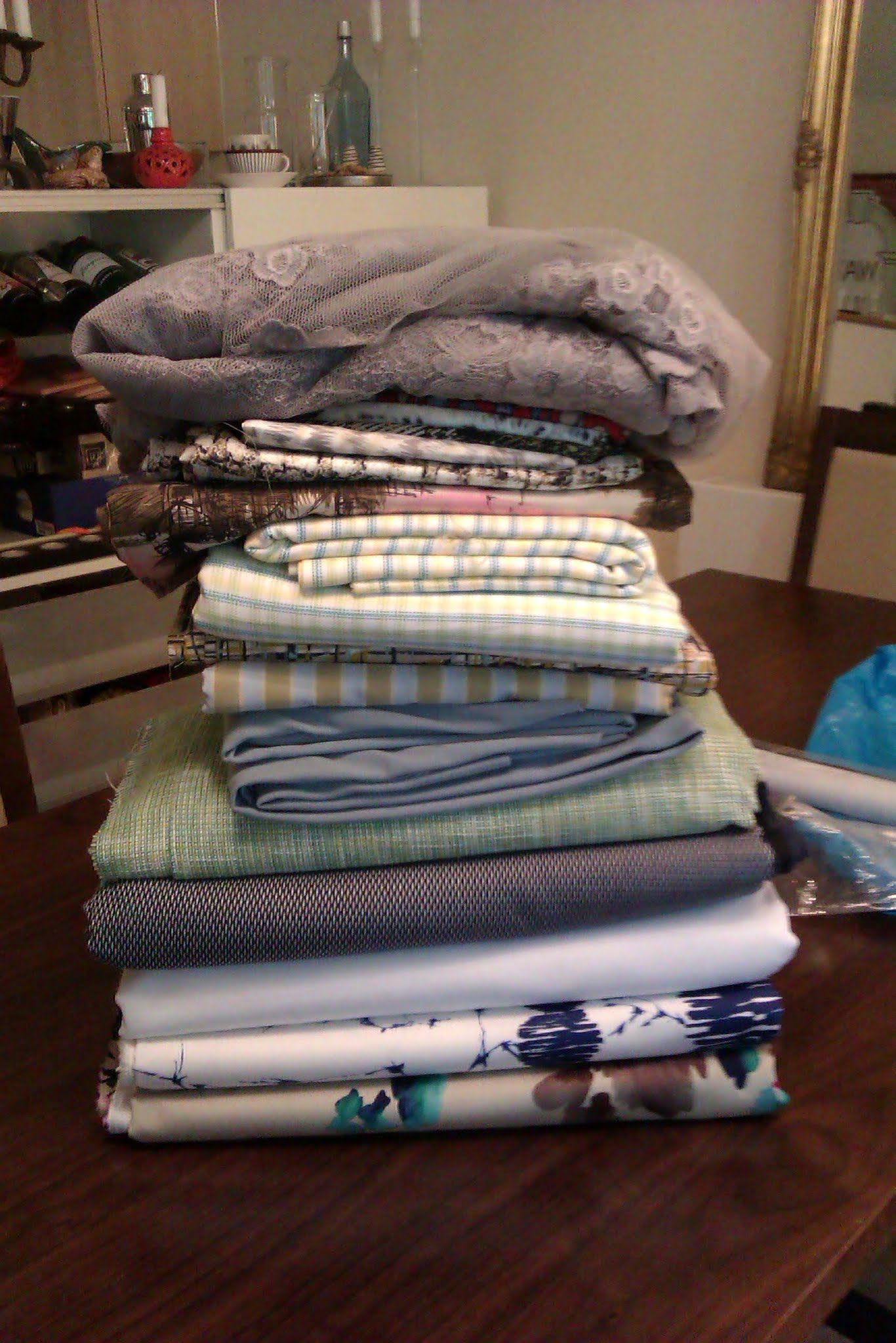 Photo: 50 yards of fabric! It looks like... not so much (which makes me wonder how much is in my stash already!). Every piece is very loved and has a planned destiny.