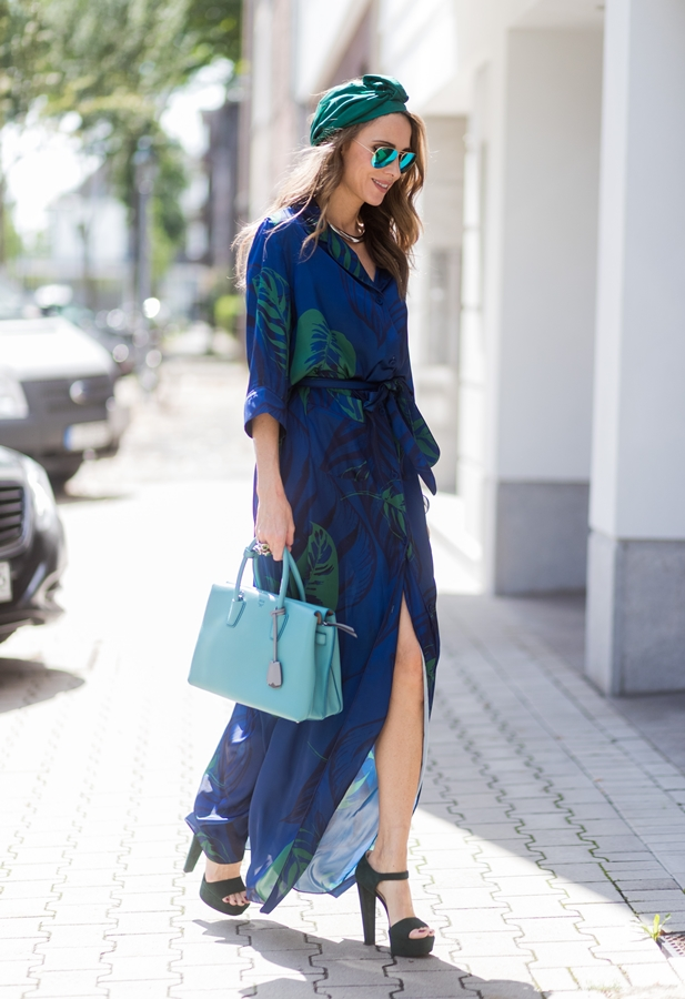 A maxi wrap dress is an easy day-to-night option.
