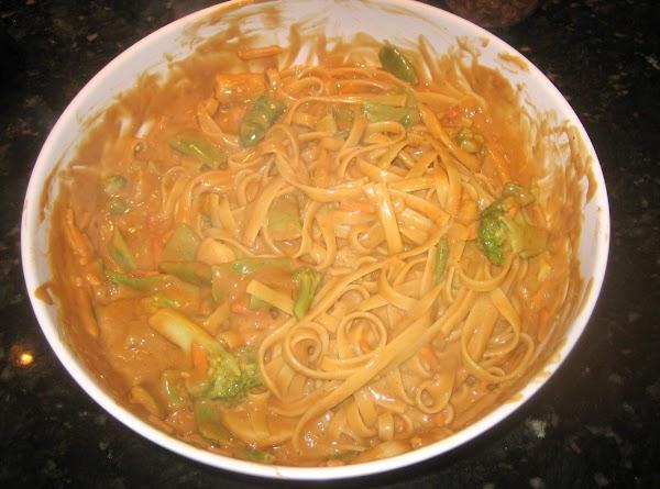 Drain pasta/vegetables & pour into a large bowl.  Pour sesame/peanut butter mixture over;...