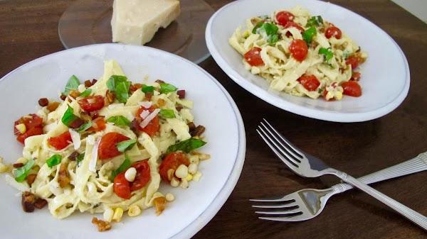 Fresh Corn Pestare Pasta & Seared Grape Tomatoes Recipe
