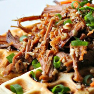 Sweet and Spicy Pecan Shredded Beef Waffles #SundaySupper