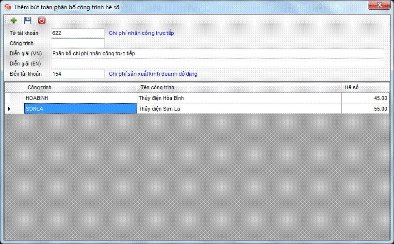 Phân bổ chi phí cho công trình - phân bổ hệ số phần mềm kế toán 3tsoft