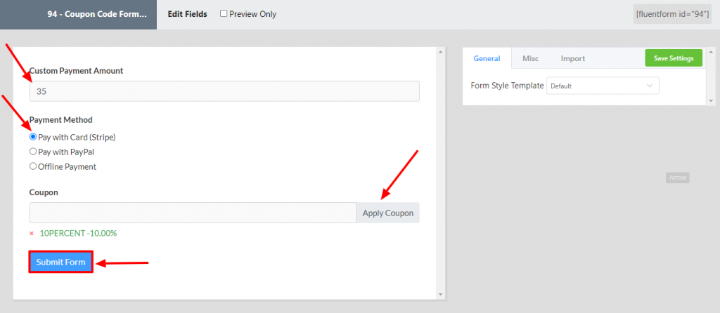 Fluent Forms preview option