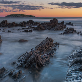 Smooth..  by Nicole Rix - Landscapes Sunsets & Sunrises ( clouds, water, sunset, long exposure, seascape, beach,  )