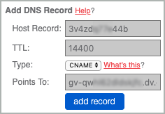 All fields of the CNAME record are completed and the Add Record button is selected.