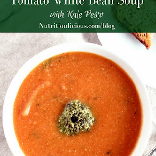 Tomato White Bean Soup with Kale Pesto Recipe