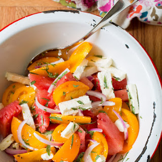 Watermelon Feta Salad with Golden Tomatoes and Tarragon