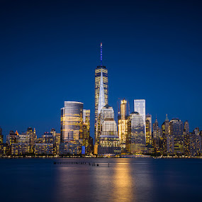 by Hoover Tung - City,  Street & Park  Vistas ( skyline, reflection, america, cityscape, architecture, travel, landscape, usa, city, lights, skyscraper, buildings, nikonnofilter, evening, downtown, water, freedomtower, building, twilight, manhattan, tourism, scenic, urban, landmark, new, tower, tourist, night )