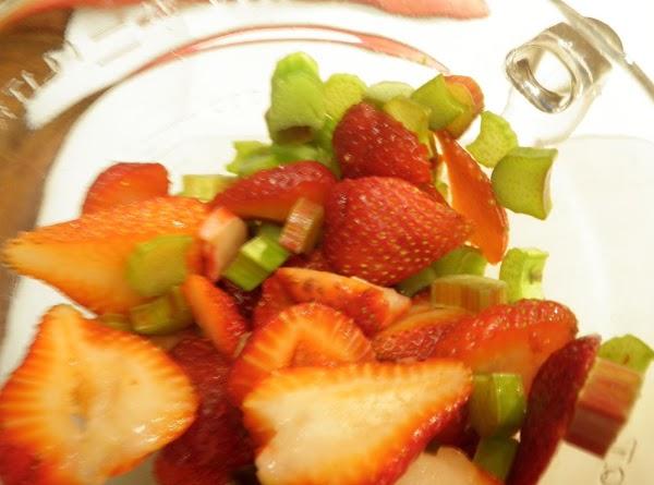 Slice strawberries and rhubarb.  Zest in 1/4 tsp. orange zest.  Make a...