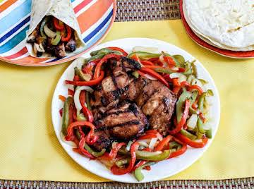 Sweet and Sour Grilled Teriyaki Chicken (fajitas)