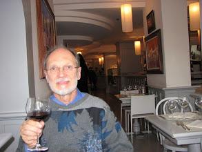 Photo: Steve enjoying a glass of the local wine.