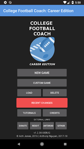 Code Triche College Football Coach: Career Edition (v1.4) APK Mod screenshots 1