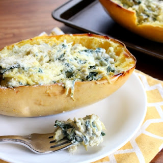Spaghetti Squash Stuffed with Spinach and Artichoke Dip