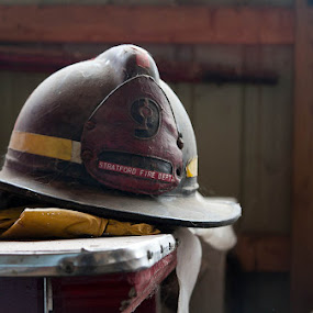 9 by Tanya Witzel - Artistic Objects Other Objects ( canon, hero, fireman, fine art, stratford, helmet, bokeh )
