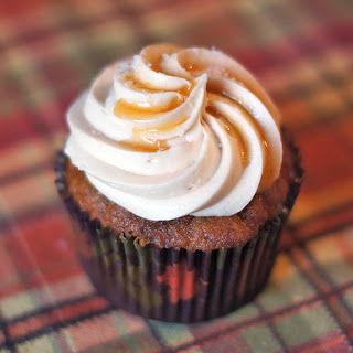 Pumpkin Spice Cupcakes with Salted Caramel Frosting.