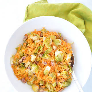 Sweet Potato Pasta with Brussel Sprouts and Pistachios.