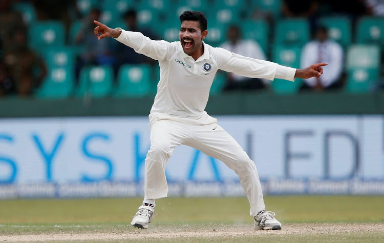 India's Ravindra Jadeja in action in Colombo, Sri Lanka, on Sunday. Picture: REUTERS