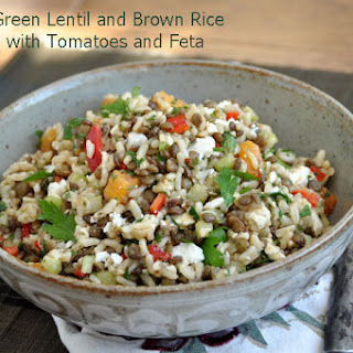 French Green Lentil, Brown Rice, Tomato and Feta Salad.